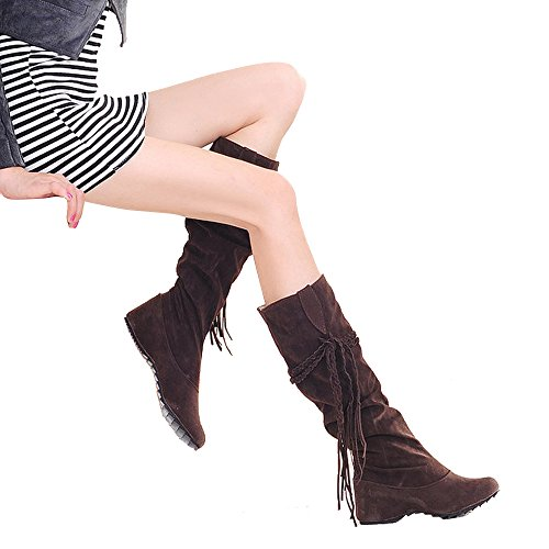 Women's Blivener Tassel Boots Coffee Calf Mid Wedge Sole Shoes Cute dRqRwgf