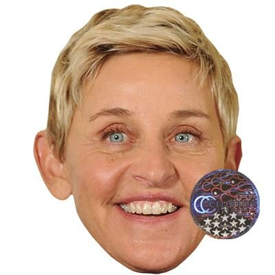 Ellen Degeneres Celebrity Mask, Card Face and Fancy Dress Mask