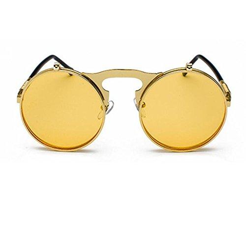 hommes vintage rétro Jaune et femmes de lunettes de soleil gothique Lunettes de style Huateng pour soleil Or wqAxYB7B