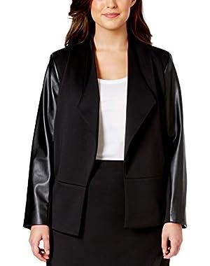 Women's Plus Size Faux Leather Sleeve Jacket