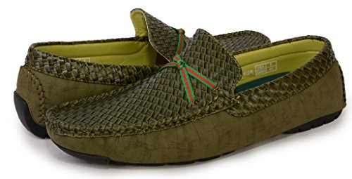 [2628-green-9] Men's Slip-On Driving Shoes: Casual Loafers Comfort Boat Shoe