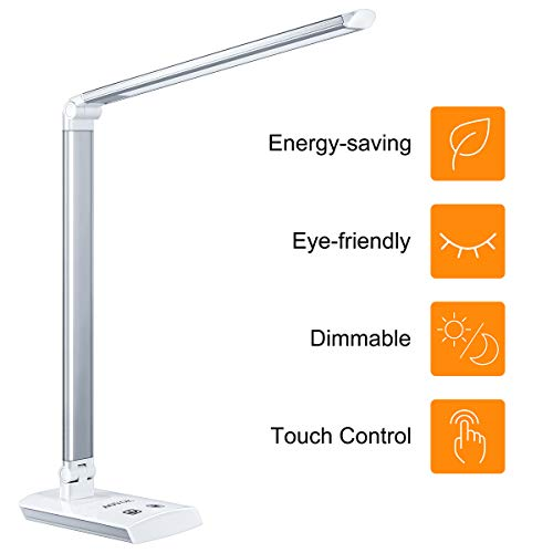 AOVOK LED Desk Lamp, Dimmable Desk Light, Eye-Caring Office Table Lamps with 4 Color Modes and Sensitive Touch Control Perfect for Home and Office Studying Reading Working Relaxing, White, 12W