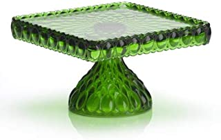 """product image for Elegant 10"""" Square Deep Green Glass Cake Stand Hand Made in Ohio"""