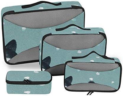 トラベル ポーチ 旅行用 収納ケース 4点セット トラベルポーチセット アレンジケース スーツケース整理 萌え 猫柄 花落ちる 収納ポーチ 大容量 軽量 衣類 トイレタリーバッグ インナーバッグ
