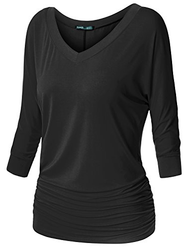 TWINTH Womens 3/4 Sleeve Dolman Drape Top with Side Shirring Loose Fit Tunic Top Plus Size Black X-Large