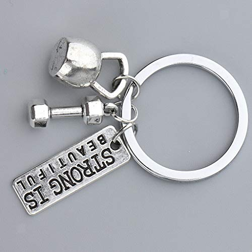 - NATFUR Alloy Keyring Strong is Beautiful I Can Dumbbell Weight Fitness Gym Keychain Novelty for Women for Men Holder Perfect for Girls   Color - Silver Design 1