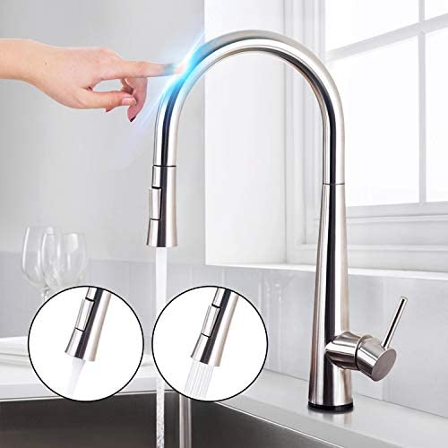 Saeuwtowy Brushed Nickel Touch On Kitchen Sink FaucetsPull Down Sprayer Single Handle Single Hole Kitchen Sink FaucetsPull Out Sprayer 304 Stainless Steel Brushed Nickel Finish