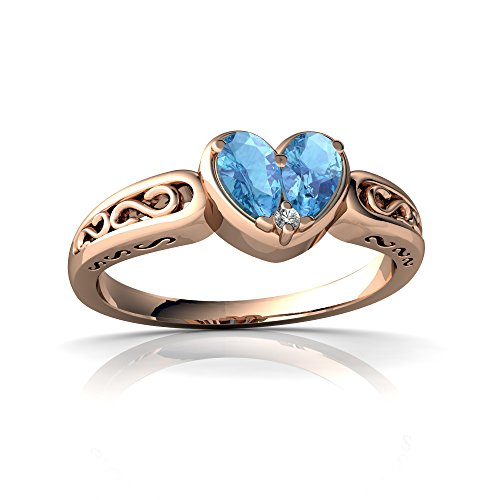 14kt Rose Gold Blue Topaz and Diamond 5x3mm Pear filligree Heart Ring - Size 9