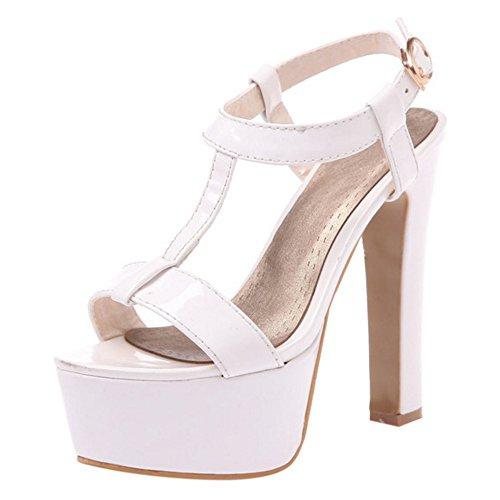 COOLCEPT Mujer Moda Correa en T Sandalias Punta Abierta Slingback Tacon ancho Zapatos Blanco