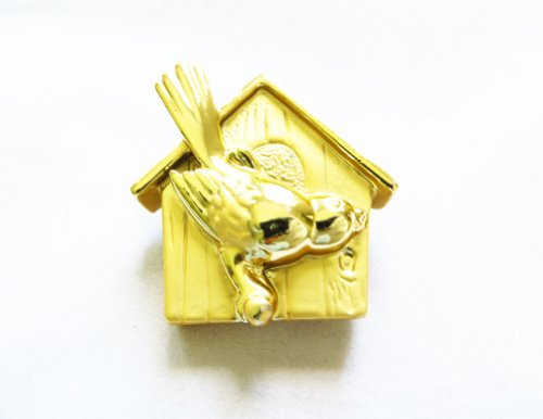 [AJC Co. Gold - Plated Bird House Pin Brooch] (Oriole Bird Costume)
