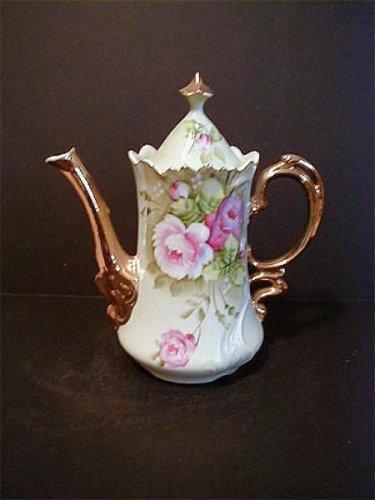 Lefton Green Heritage Rose Tea Pot
