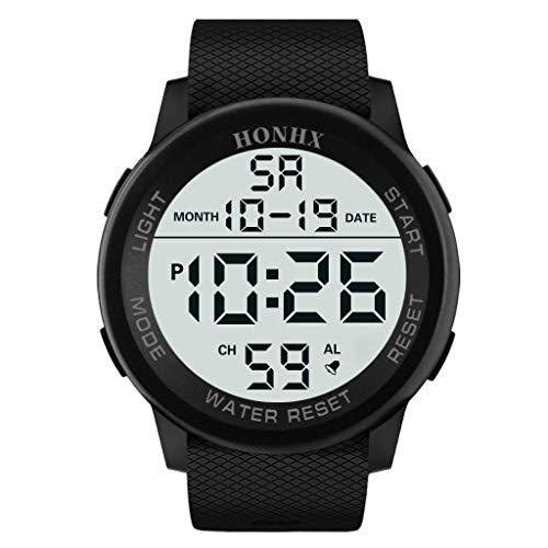 Boy's Digital Display Military Sports Watch with Black Rubber Watchband Fashion Wristwatch,MmNote(Black)