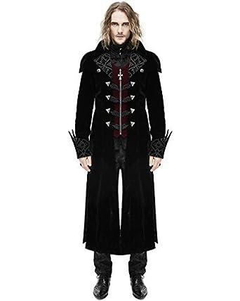 Devil Fashion hommes manteau veste longue noir rouge velours gothique  steampunk aristocrate - Noir 2c06103752d