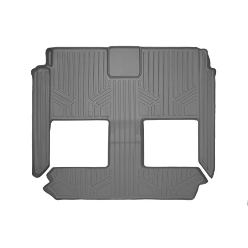 SMARTLINER Floor Mats 2nd and 3rd Row Liner Grey for 2008-2018 Dodge Grand Caravan / Chrysler Town & Country (Stow