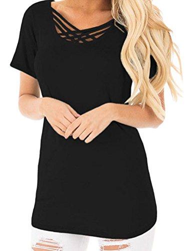 Hardwood Drop Side Crib (YeeATZ Womens Black Crisscross Neckline Short Sleeve Tee T-shirt Tops)