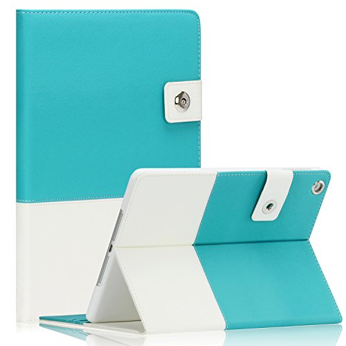 SAVEICON Hybrid leather Folio Case Cover for Apple New iPad Mini/Mini 2 / Mini 3 Case 7.9 Inch Wifi 3G 4G LTE with Built-in Stand and Card Slots Auto Wake/Sleep Smart Cover (Blue)