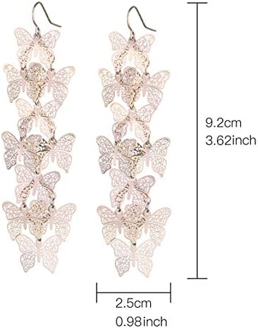 Nicole Miller New York Rosegold Casted Cutout Layered Butterfly Fashion Dangle Earrings