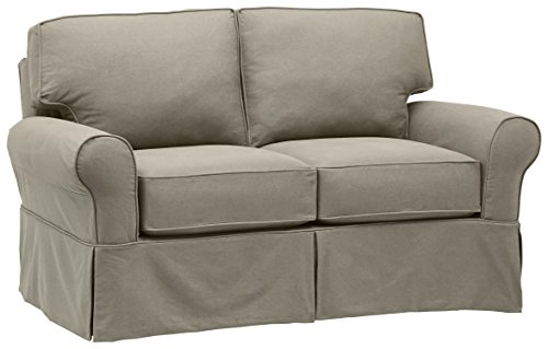 "Stone & Beam Carrigan Modern Loveseat Sofa Couch with Slipcover, 68""W, Grey Taupe"