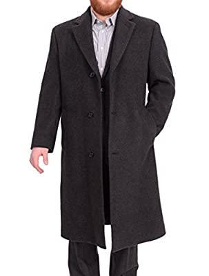 Calvin Klein Mens Classic Fit Solid Charcoal Gray Wool Blend Top Coat Overcoat