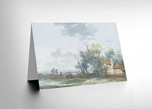 Wee Blue Coo CARD GREETING GIFT PAINTING LANDSCAPE RURAL MOREAU COTTAGE HORSE CART (Cart Cottage)