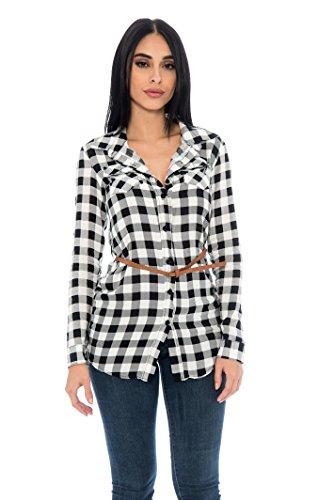 Unique Styles Ladies Shirt Boyfriend Plaid Button Belted Long Sleeve Shoulder Strap Casual