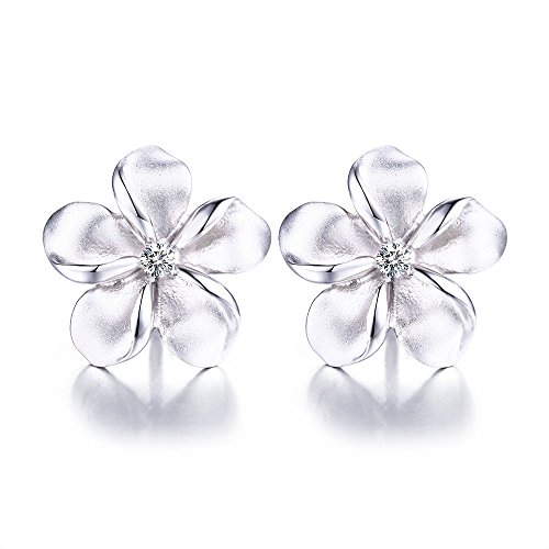 allergenic White Cute 3d Hawaiian Plumeria Flower Earrings for Girls (Plumeria Flower Earrings)