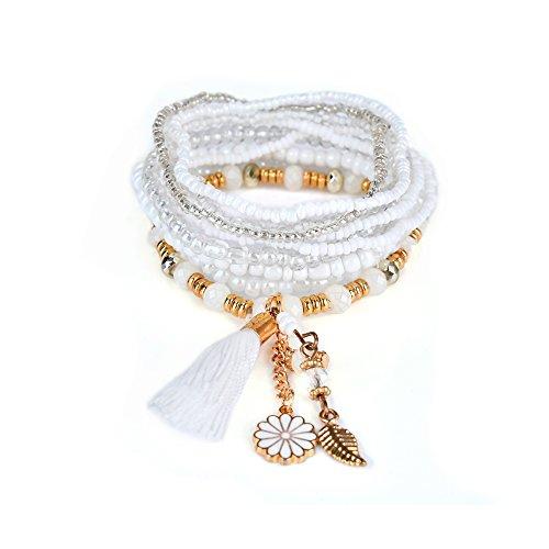 LUREME Bohemian Beads Flower Leaf Tassel Charms Multi Strand Textured Stackable Bracelet Set-Dk White(bl003064-3)