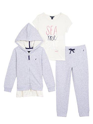 Nautica Girls Hoodie, Knit Top and Fleece Jogger