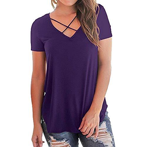 V Branch Shirt Moderne Tee Style Tops Sangles Courtes Unie Hipster Gr Cou Croises Mode Large Shirts lgant Party Haut Couleur Et Manches Femme Tunique xFZ50CqwSS