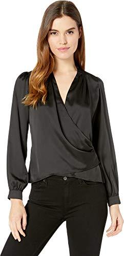 ASTR the label Women's Janice Long Sleeve Drape Cowl WRAP Blouse TOP, Black, XS