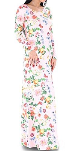 Donne Comodi Floreale Del Collo Della Stampa Paletta Manica Lunga Partito Di Grandi Dimensioni Vestito Pink2