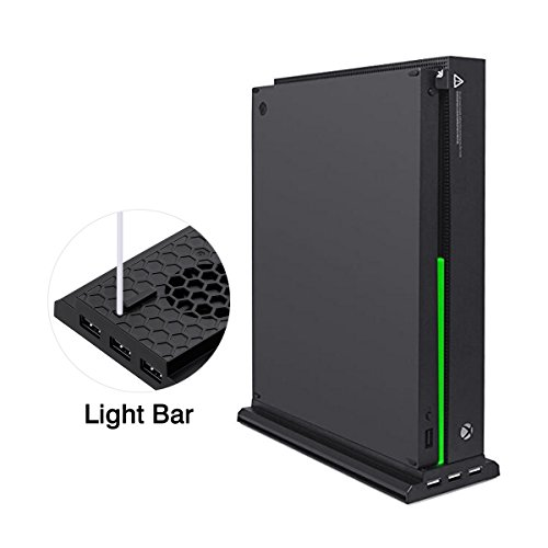 Muicatte Xbox One X Cooling Dock, Vertical Stand with 3 Cooling Fans, 3 USB Ports and 1 Light Bar for Xbox One X Console Only - Black by Muicatte (Image #4)