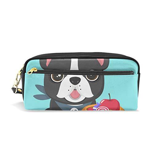 ColourLife Pen Pencil Case Puppy Halloween Pumpkin Leather Zipper Pouch Bag Makeup Cosmetic Bag Pencil Holder ()