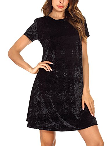 (Women's Vintage Velvet Dress Short Sleeve Flared Dress (XL, Black) )