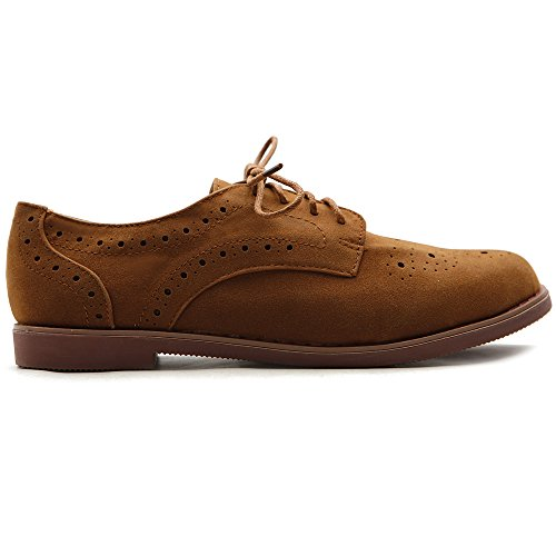Ollio Women's Lace Up Wing Tip Casual Shoe Dress Low Heel Oxford