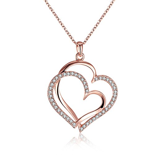 Popcorn Costume Ideas (F-U 18K Rose Gold Plated Austrian Crystal Double Heart Pendant Necklace (3 Tone))