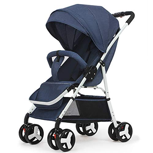0-3 Years Old Baby Stroller Ultra Light Portable can sit Reclining Folding Trolley Baby Umbrella high Landscape Baby Stroller (Blue)