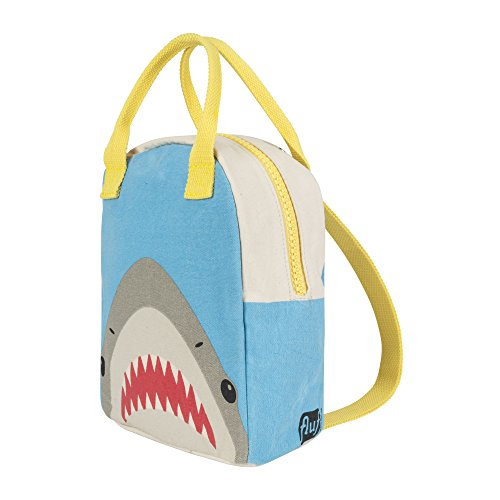 Fluf Canvas Mini Backpack for Kids | Lil B Pack Lunch Bag with Back Straps | Reusable Organic Cotton Lunch Box (Killer Shark Strap)