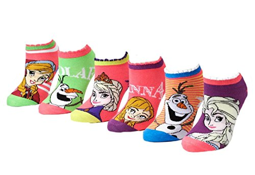 Disney Frozen Little Girls' 6 Pack Assorted No Show Socks (6-8 Medium)