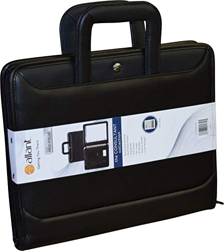 - Allant Zip Around Vynil 3 Ring Padfolio with Retractable Handles - Black