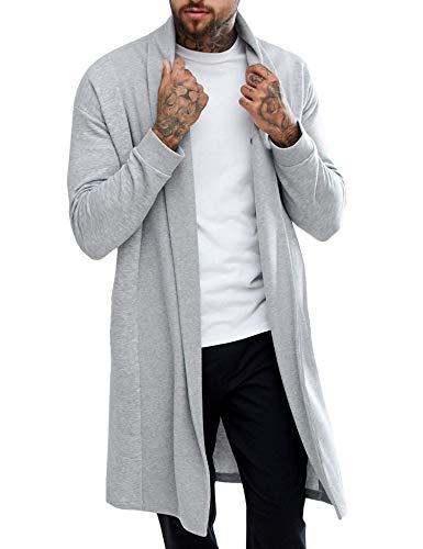 Pacinoble Men's Ruffle Shawl Longline Draped Lightweight Open Front Cotton Long Length Cardigan Gray