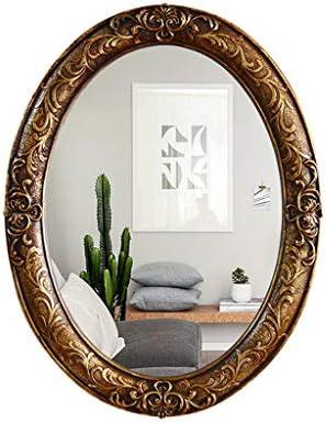 ヨーロッパのレトロな楕円形の壁掛け装飾、ホテルの浴室キャビネット洗面化粧台洗面鏡 JZ11/23 (Color : D)
