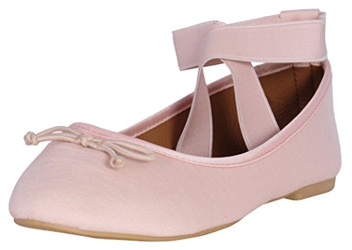 'Epic Step Women\'s Classic Ballet Flats with Elastic Cross Ankle Straps, Blush, Size 11' - Pink Ballerina Shoes With Elastic
