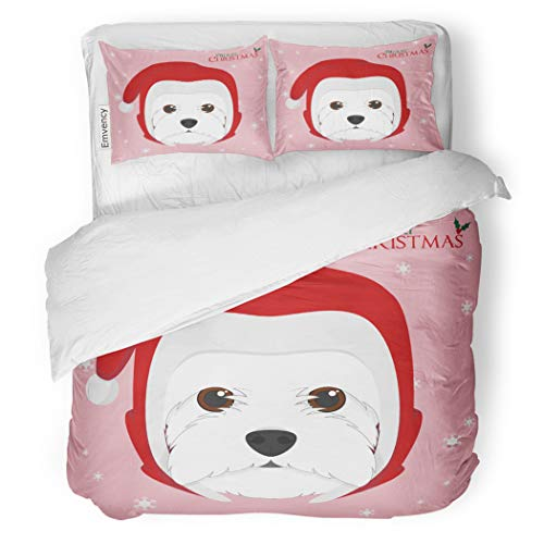 SanChic Duvet Cover Set Christmas West Highland White Terrier Dog Red Santa Decorative Bedding Set with Pillow Case Twin Size