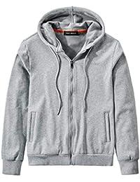 Mens Full Zip Hoodie Blend Fleece Jacket Classic Plain Casual Hooded Sweatshirt