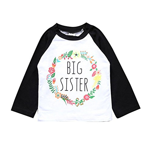(Kingte Toddler Girls Big Sister T Shirt Matching Little Sister Baby Bodysuits White (5T, Black Big Long))