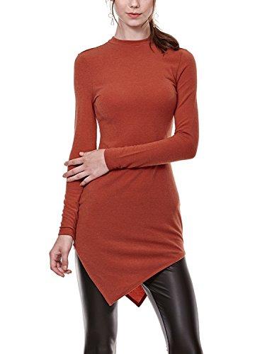 Regna X Love Coated Women's Basic Flowy Long Sleeve Dresses Coral XXXL