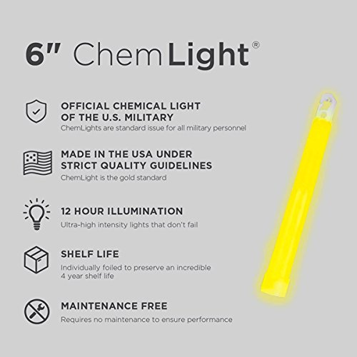 Cyalume ChemLight Military Grade Chemical Light Sticks, Yellow, 6'' Long, 12 Hour Duration (Pack of 500) by Cyalume (Image #3)