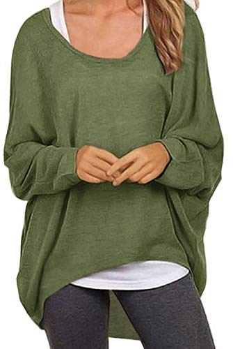 (UGET Women's Sweater Casual Oversized Baggy Off-Shoulder Shirts Batwing Sleeve Pullover Shirts Tops Asia M Army Green)