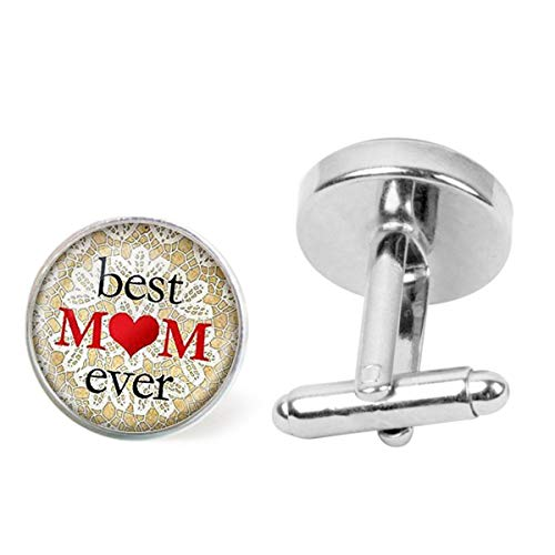 Artwork Store Mens Stainless Steel Cuff Links Best Mom Ever Hearts Printing Personalized Cufflinks Business Party Wedding (Best Wedding Speech Ever Father Of The Bride)